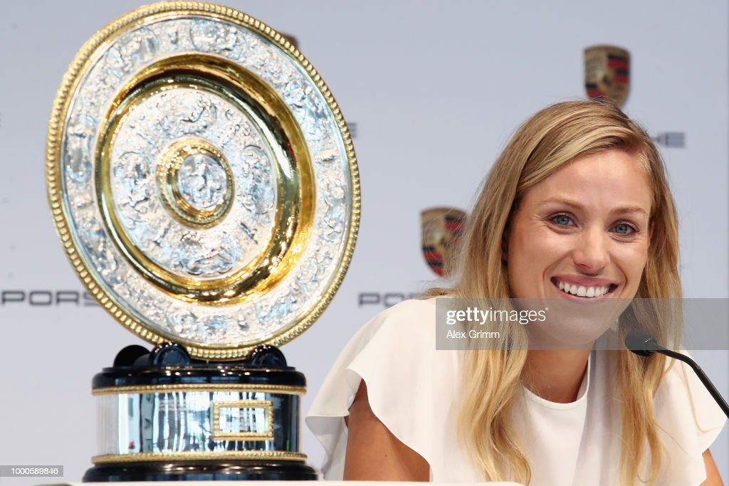 Porsche Brand Ambassador Angelique Kerber talks to the media during a press conference at the Porsche Museum on July 17, 2018 in Stuttgart, Germany.