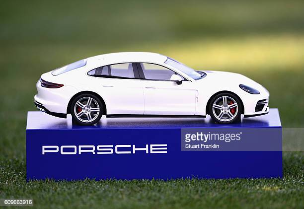 Porsche branded tee marker is seen during day one of the Porsche European Open at Golf Resort Bad Griesbach on September 22 2016 in Passau Germany