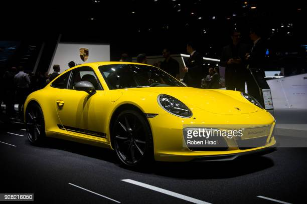Porsche Carrera 911 T is displayed at the 88th Geneva International Motor Show on March 6 2018 in Geneva Switzerland Global automakers are converging...