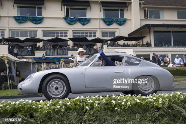 Porsche Carrera Abarth GTL Viarenzo and Filliponi Coupe is driven onto the winners ramp during the 2019 Pebble Beach Concours d'Elegance in Pebble...