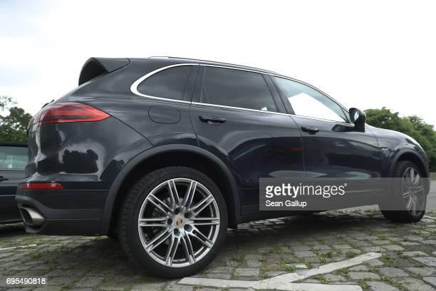 Porsche Cayenne diesel SUV stands parked on June 13 2017 in Berlin Germany Spiegel magazine after conducting independent tests on a Porsche Cayenne...