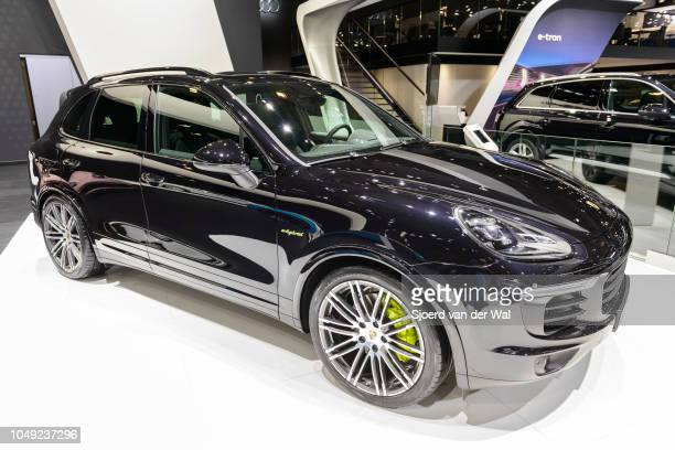 Porsche Cayenne S EHybrid plugin hybrid luxury SUV on display at Brussels Expo on January 13 2017 in Brussels Belgium The Cayenne is available with...