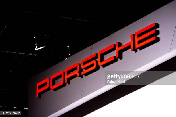 Porsche logo is displayed during the first press day at the 89th Geneva International Motor Show on March 5, 2019 in Geneva, Switzerland.