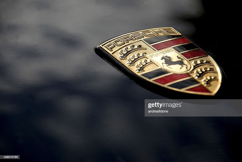 Porsche Logo on Black, Macro : Stock Photo