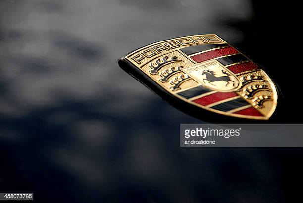 Porsche Logo on Black, Macro