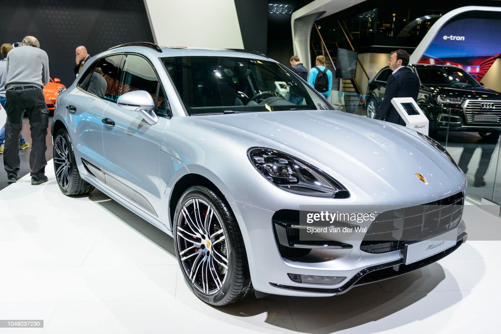 Porsche Macan Luxury Compact Suv Car Front View On Display At