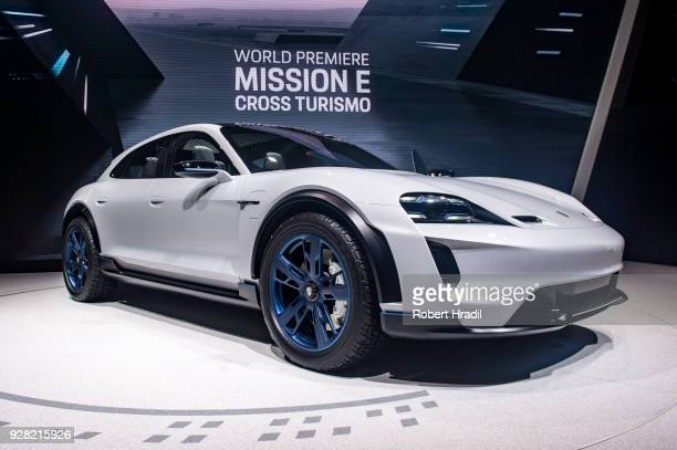 Porsche Mission E is displayed at the 88th Geneva International Motor Show on March 6 2018 in Geneva Switzerland Global automakers are converging on...