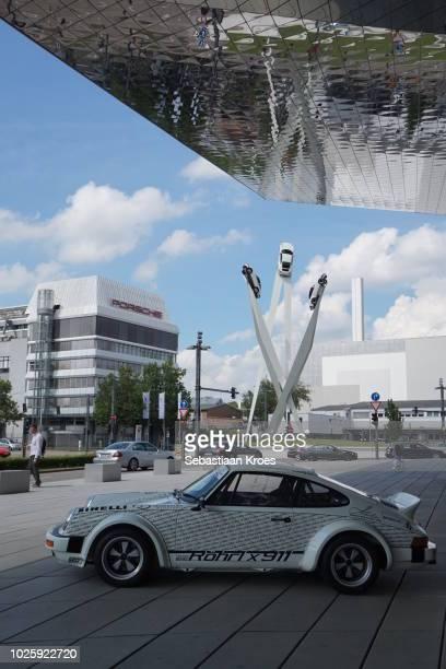 Porsche Museum, Factory, Sculpture and Car, Stuttgart, Germany