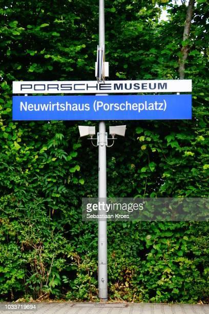 Porsche Museum Sign at Train Station, Stuttgart, Germany