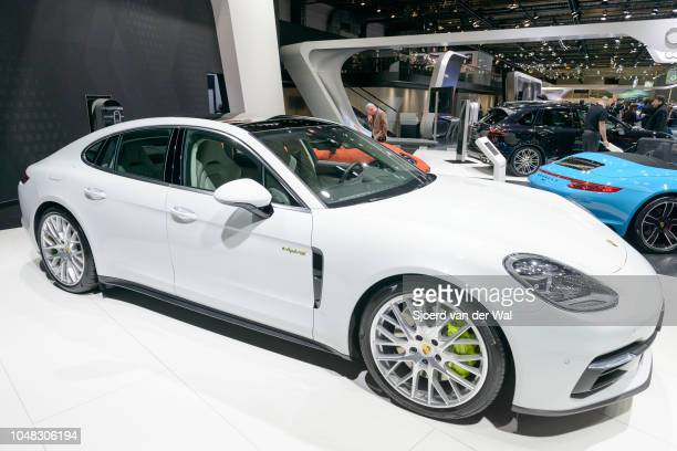 Porsche Panamera 4 e-hybrid luxury 4 door saloon performance car on display at Brussels Expo on January 13, 2017 in Brussels, Belgium. The Panamera 4...