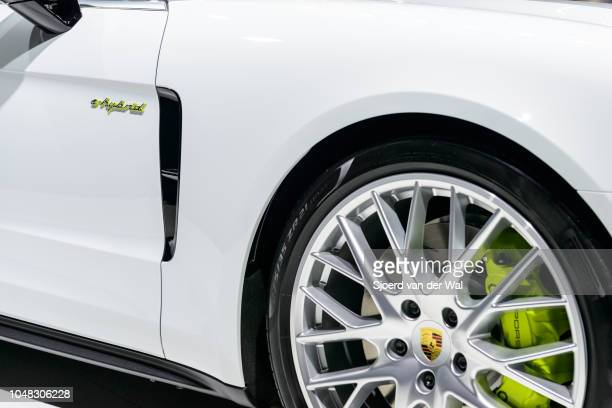 Porsche Panamera 4 e-hybrid luxury 4 door saloon performance car detail on display at Brussels Expo on January 13, 2017 in Brussels, Belgium. The...