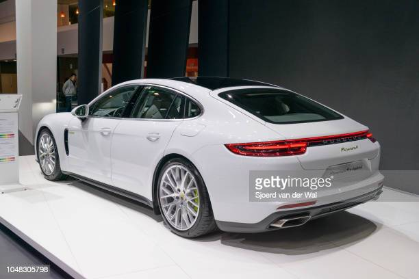 Porsche Panamera 4 ehybrid luxury 4 door saloon performance car rear view on display at Brussels Expo on January 13 2017 in Brussels Belgium The...