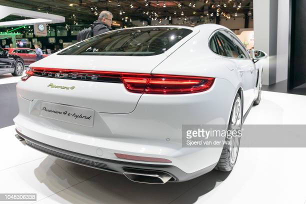 Porsche Panamera 4 e-hybrid luxury 4 door saloon performance car rear view on display at Brussels Expo on January 13, 2017 in Brussels, Belgium. The...