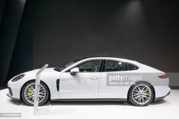 Porsche Panamera 4 e-hybrid luxury 4 door saloon performance car side view on display at Brussels Expo on January 13, 2017 in Brussels, Belgium. The...
