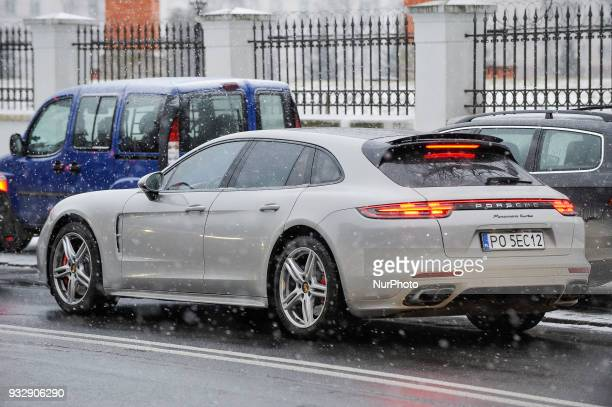 A Porsche Panamera Turbo shooting brake is seen in Warsaw Poland on March 16 2018 After a spell of warm weather temperatures in the country again...
