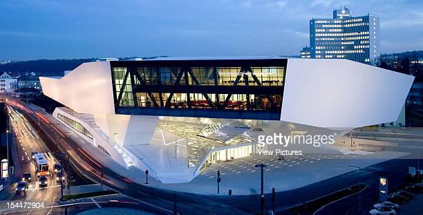 Porsche PlatzGermany Architect Stuttgart Porsche Museum High Level Twilight View With Traffic