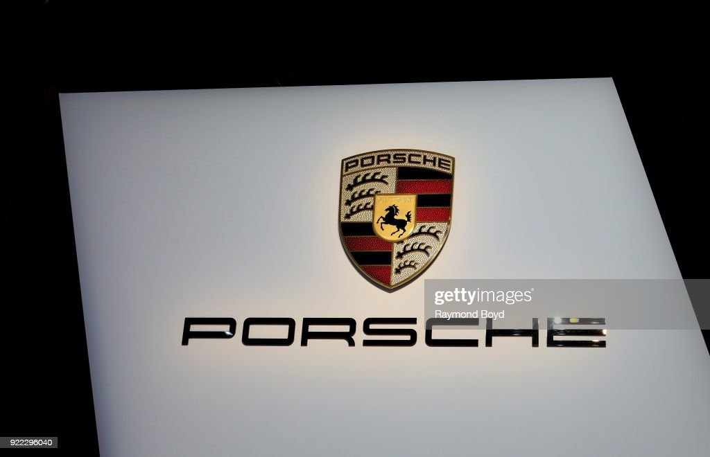 Porsche signage is on display at the 110th Annual Chicago Auto Show at McCormick Place in Chicago, Illinois on February 9, 2018.