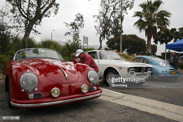 Porsche Speedster owned by Cheryl Dunkel and Peter Dunkel 1965 Alfa Romeo GTA and a 1955 Porsche 356A 1600S coupe are readied for the Friends of...