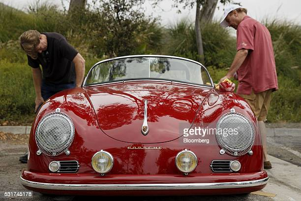 Porsche Speedster owned by Cheryl Dunkel and Peter Dunkel not pictured is prepared during the Friends of Steve McQueen Car Show Rally from Malibu to...