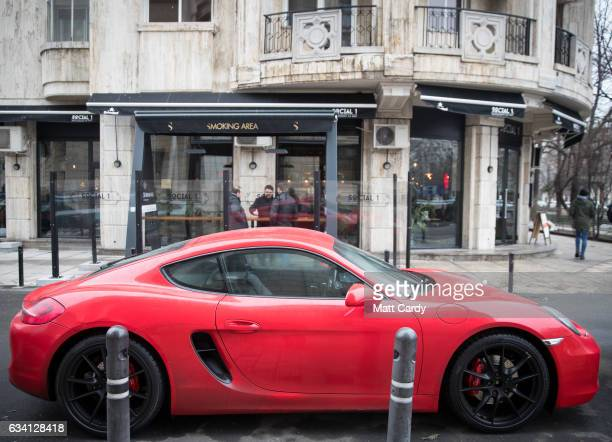 Porsche sports car is parked in a street in central Bucharest on February 7 2017 in Bucharest Romania Romania's ruling Social Democrats has appealed...
