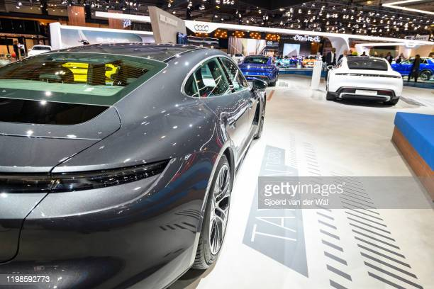 Porsche Taycan Turbo allelectric luxury performance car on display at Brussels Expo on JANUARY 09 2020 in Brussels Belgium The Taycan is fitted with...