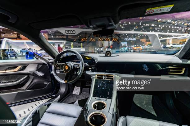 Porsche Taycan Turbo S allelectric luxury performance car interior on display at Brussels Expo on JANUARY 09 2020 in Brussels Belgium The Taycan is...