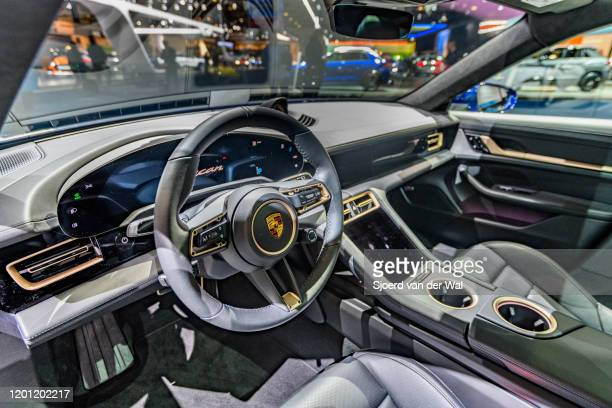 Porsche Taycan Turbo S allelectric luxury performance car interior on display at Brussels Expo on January 9 2020 in Brussels Belgium The Taycan is...