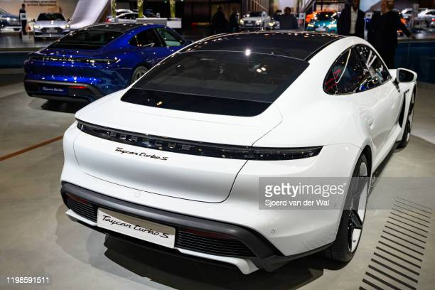 Porsche Taycan Turbo S allelectric luxury performance car on display at Brussels Expo on JANUARY 09 2020 in Brussels Belgium The Taycan is fitted...