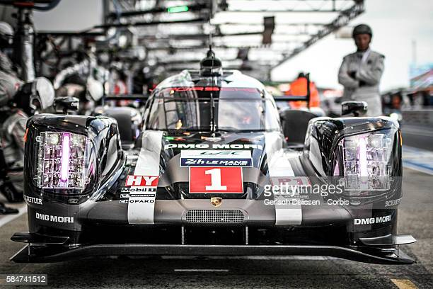 Porsche Team #1 Porsche 919 Hybrid with Drivers Timo Bernhard Mark Webber and Brendon Hartley during the 84th running of the Le Mans 24 Hours on June...