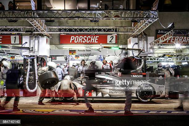 Porsche Team #2 Porsche 919 Hybrid with Drivers Romain Dumas Mark Lieb and Neel Jani in the pit lane during the 84th running of the Le Mans 24 Hours...