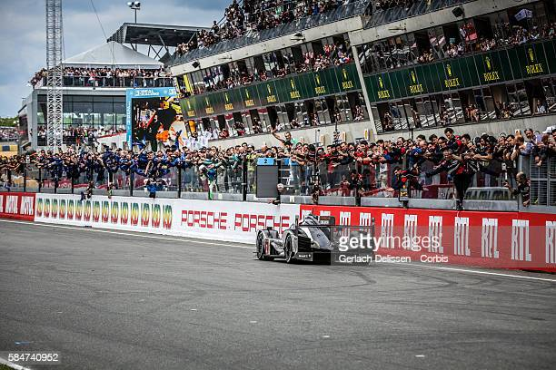 Porsche Team , #2 Porsche 919 Hybrid with Drivers Romain Dumas , Mark Lieb and Neel Jani WINS the 84th running of the Le Mans 24 Hours on June 19,...