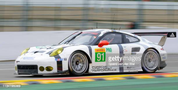 Porsche Team Manthey Porsche 911 RSR driven by Kévin Estre and Sven Müller driving on track during the 6 Hours of SpaFrancorchamps race the second...