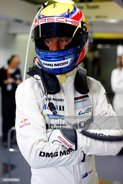 Porsche Team Mark Webber is seen preparing for the warmup session on June 14 2014 in Le Mans France
