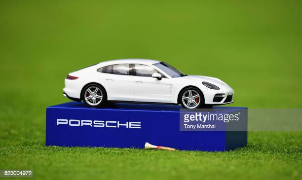 Porsche tee marker during the Porsche European Open Pro Am at Green Eagle Golf Course on July 26 2017 in Hamburg Germany