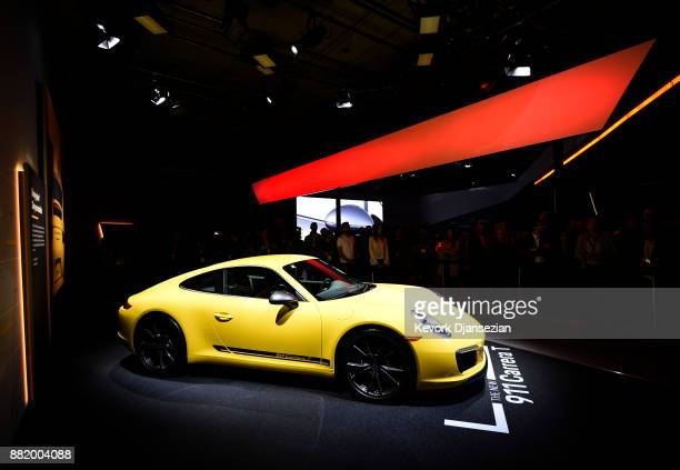 Porsche unveils the 911 Carrera T during the auto trade show AutoMobility LA at the Los Angeles Convention Center November 29 2017 in Los Angeles...