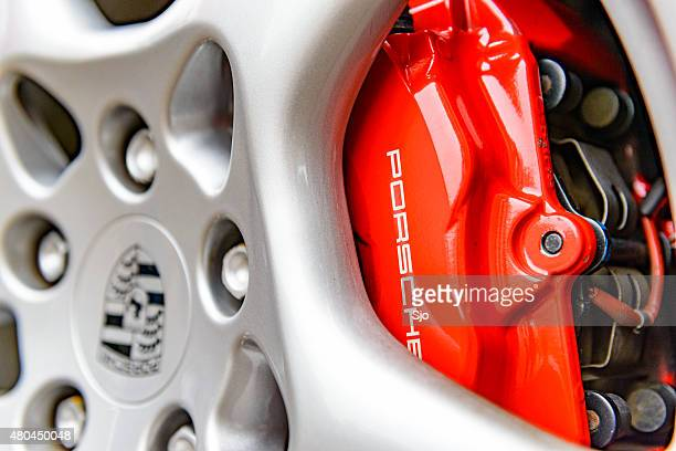 Porsche wheel and brake caliper