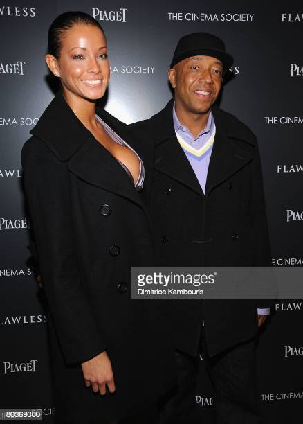 """Porschela Coleman and Russell Simmons arrive at The Cinema Society and Piaget Screening of """"Flawless"""" at The Tribeca Grand Screening Room on March..."""