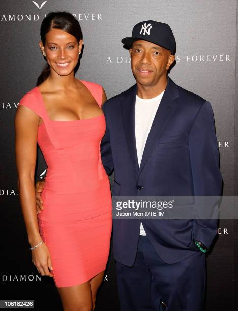 Porschla Coleman and Russell Simmons arrive at the Diamond Information Center Gala Dinner Hosted by Julianne Moore at Chateau Marmont on February 22,...