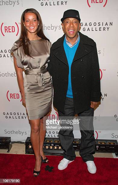 Porschla Coleman and Russell Simmons attend the Auction On Valentine's Day to Benefit AIDS in Africa, hosted by and at Sotheby's on February 14, 2008.