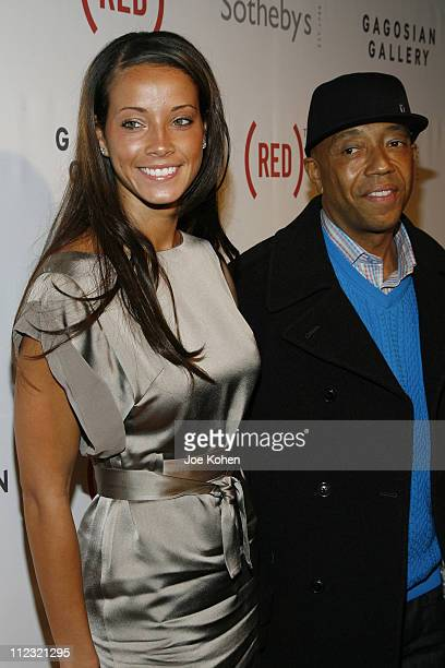 Porschla Coleman and Russell Simmons attend The Auction to raise money to fight AIDS in Africa at Sotheby's on February 14, 2008 in New York City.