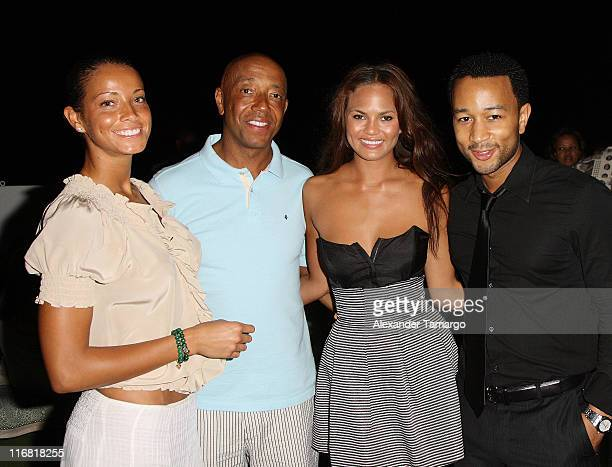 Porschla Coleman, Russell Simmons, Christine Teigen and John Legend pose at the Rush Philanthropic Arts Foundation VIP reception at the Delano Hotel...