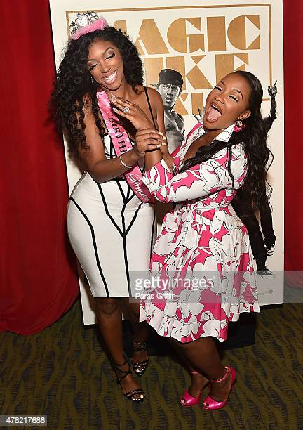 Porsha Williams and Phaedra Parks attend Magic Mike XXL Ladies Night Out Advanced Screening at Landmark Midtown Art Cinema on June 23 2015 in Atlanta...