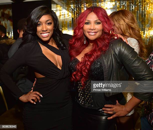 """Porsha Williams and Sandra 'Pepa' Denton attend the ATL Premiere Of WE Tv's """"Growing Up Hip Hop"""" after party at Whiskey Park at W Atlanta - Midtown..."""