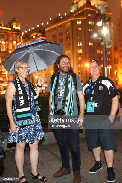 Port Adelaide Power fans pose during an even for club members at The Camel on May 18 2018 in Shanghai China Port Adelaide play the Gold Coast Suns in...