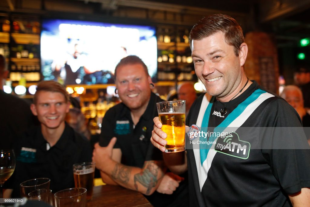 Port Adelaide Power fans pose during an event for club members at The Camel on May 17, 2018 in Shanghai, China. Port Adelaide play the Gold Coast Suns in a Premiership Season match in Shanghai, at Jiangwan Stadium on Saturday.