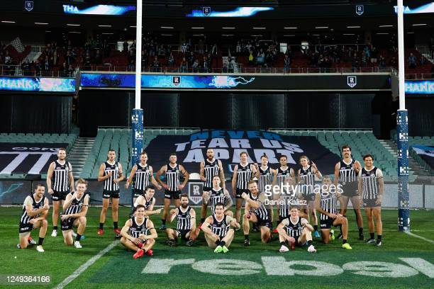 Port Adelaide Power players pose for a photo during the round 2 AFL match between the Port Adelaide Power and the Adelaide Crows at Adelaide Oval on...