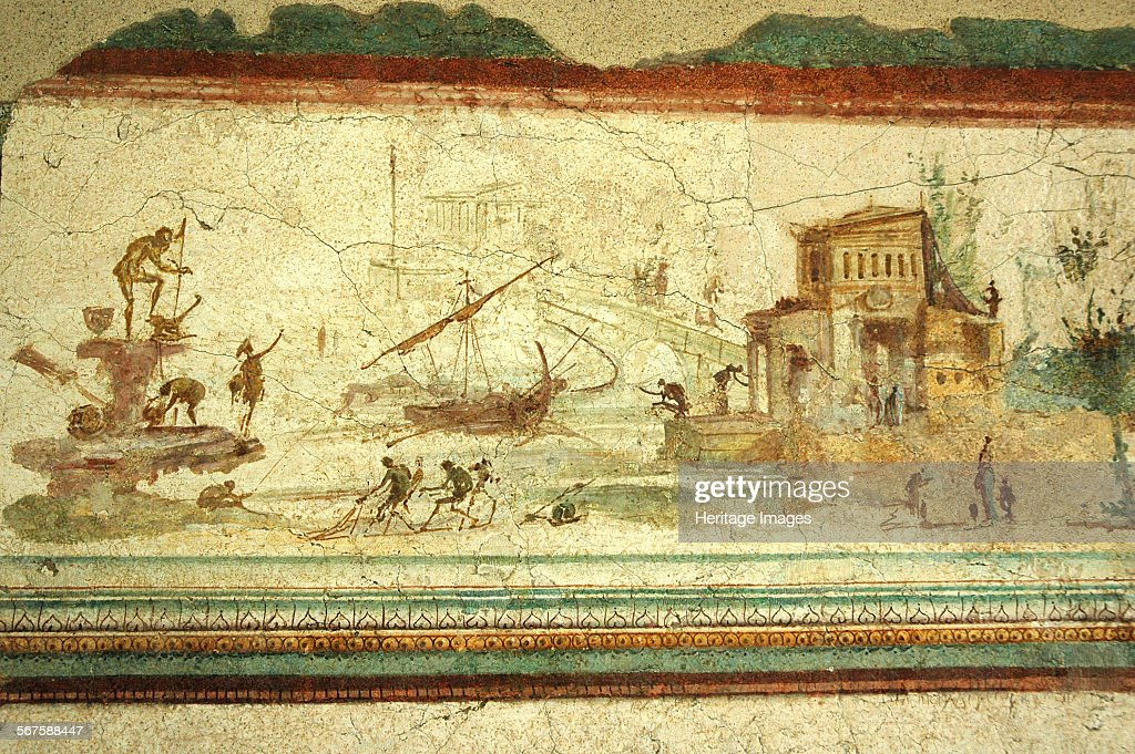 Port And River Scene Wall Fresco. It Is Attributed To Studius, An Artist Referred To By Pliny In His Artist: Werner Forman. : News Photo