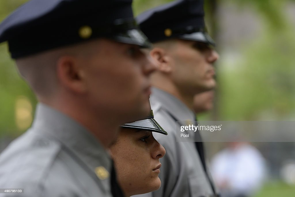 Port Authority Police Academy cadets stand by the South