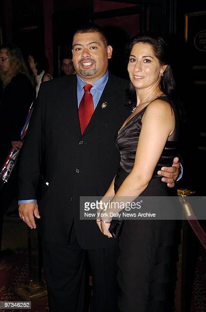 Port Authority Police Officer William J Jimeno and his wife Allison arrive for the premiere of Oliver Stone's movie World Trade Center at the...