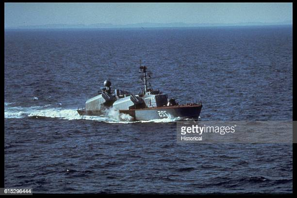 A port bow view of a Soviet Osa I class fast attack craft/missile ship underway
